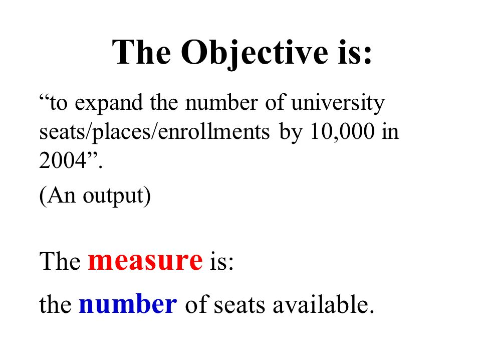 The Objective is: the number of seats available. (An output)