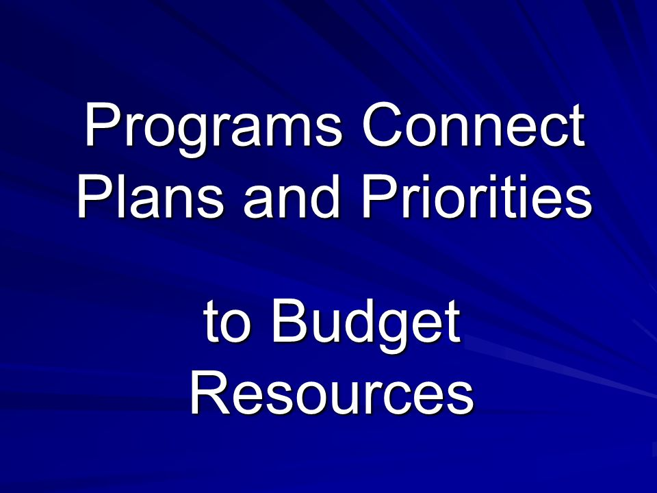 Programs Connect Plans and Priorities