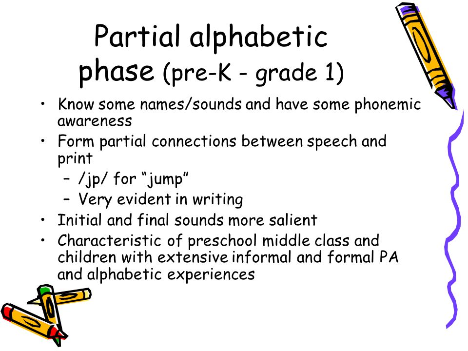 Partial alphabetic phase (pre-K - grade 1)