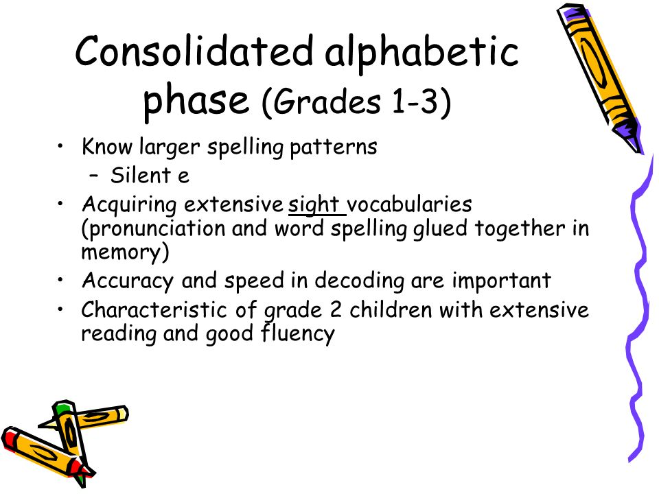 Consolidated alphabetic phase (Grades 1-3)