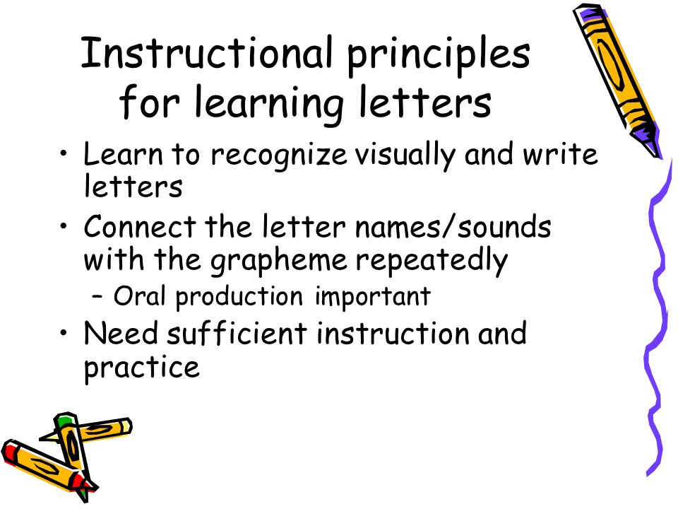 Instructional principles for learning letters