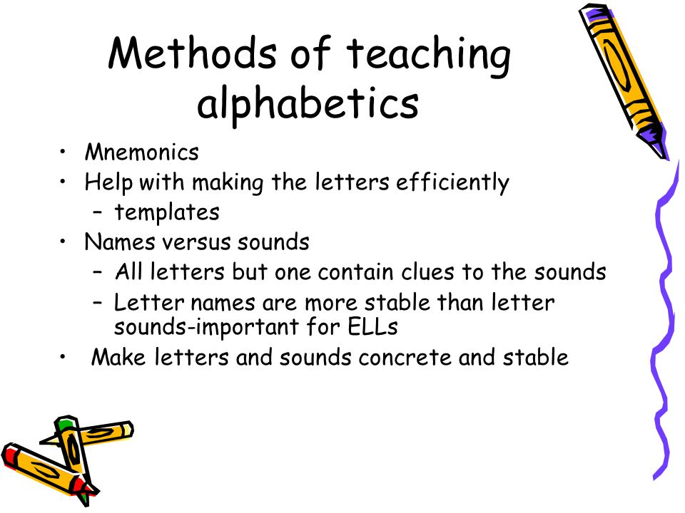 Methods of teaching alphabetics