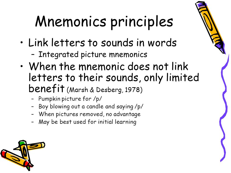 Mnemonics principles Link letters to sounds in words