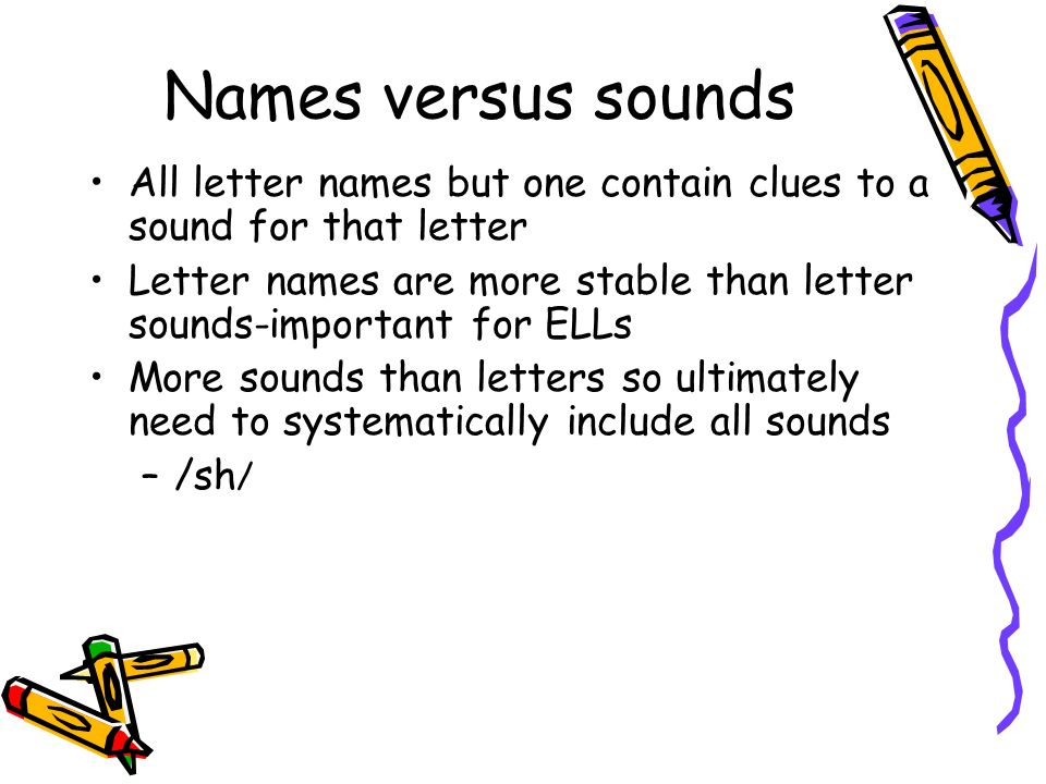 Names versus sounds All letter names but one contain clues to a sound for that letter.