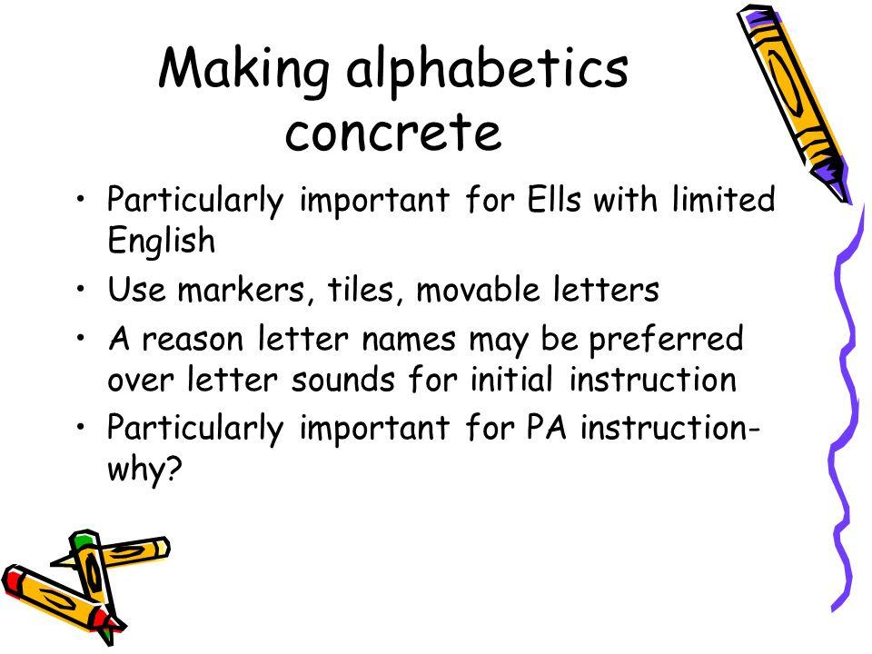Making alphabetics concrete