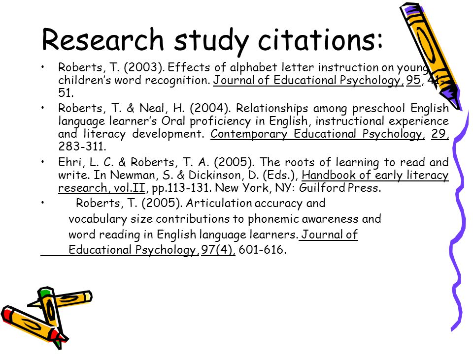 Research study citations: