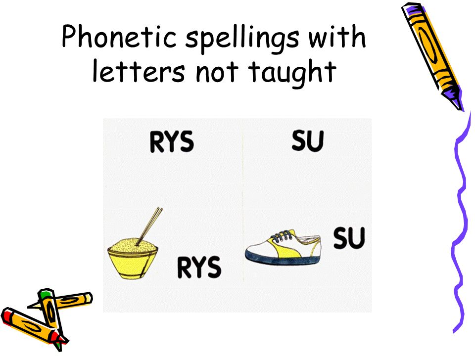Phonetic spellings with letters not taught