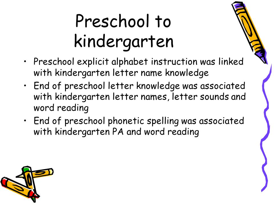 Preschool to kindergarten