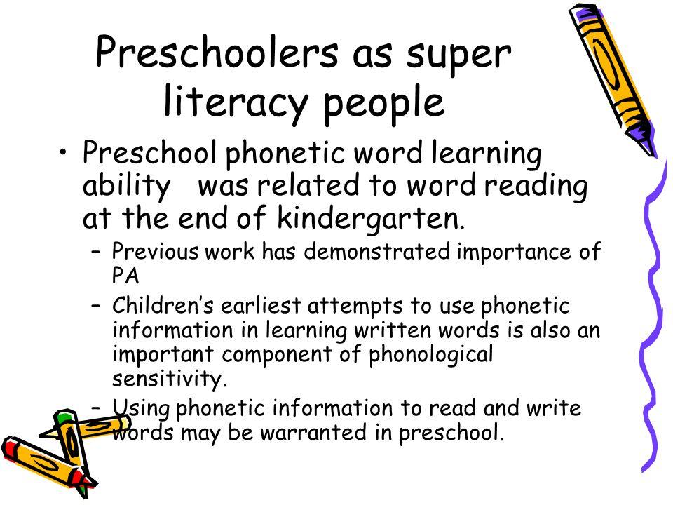 Preschoolers as super literacy people