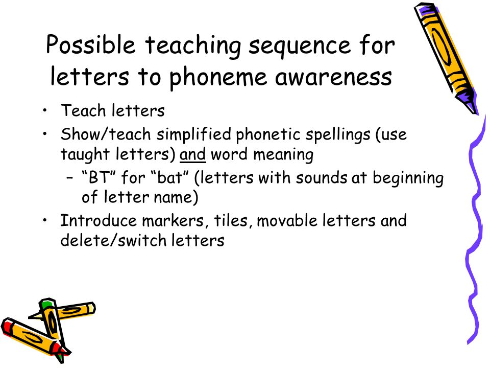 Possible teaching sequence for letters to phoneme awareness