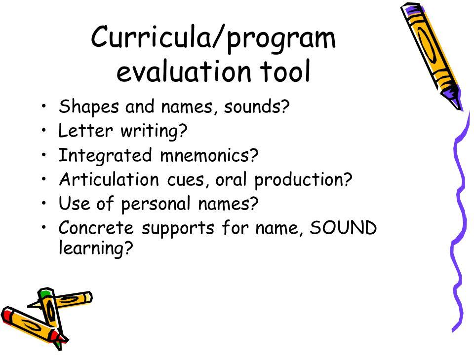 Curricula/program evaluation tool