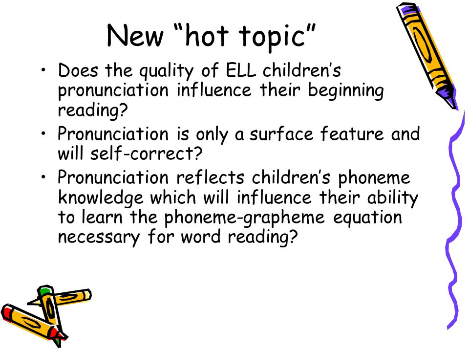 New hot topic Does the quality of ELL children's pronunciation influence their beginning reading