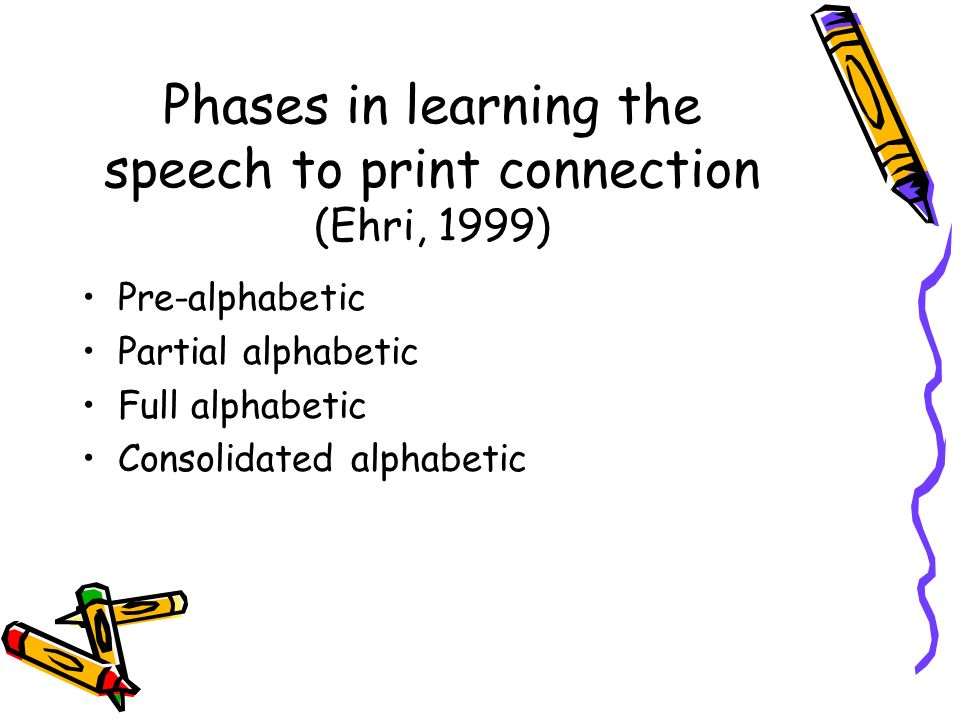 Phases in learning the speech to print connection (Ehri, 1999)