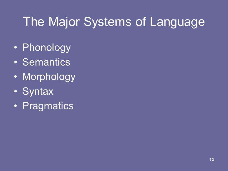 The Major Systems of Language