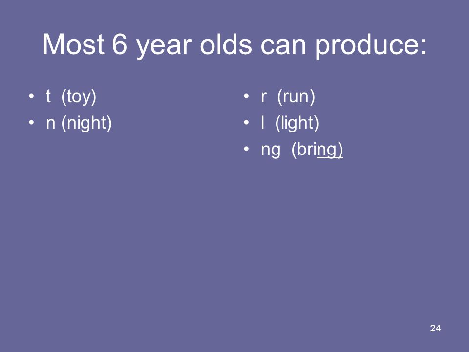 Most 6 year olds can produce: