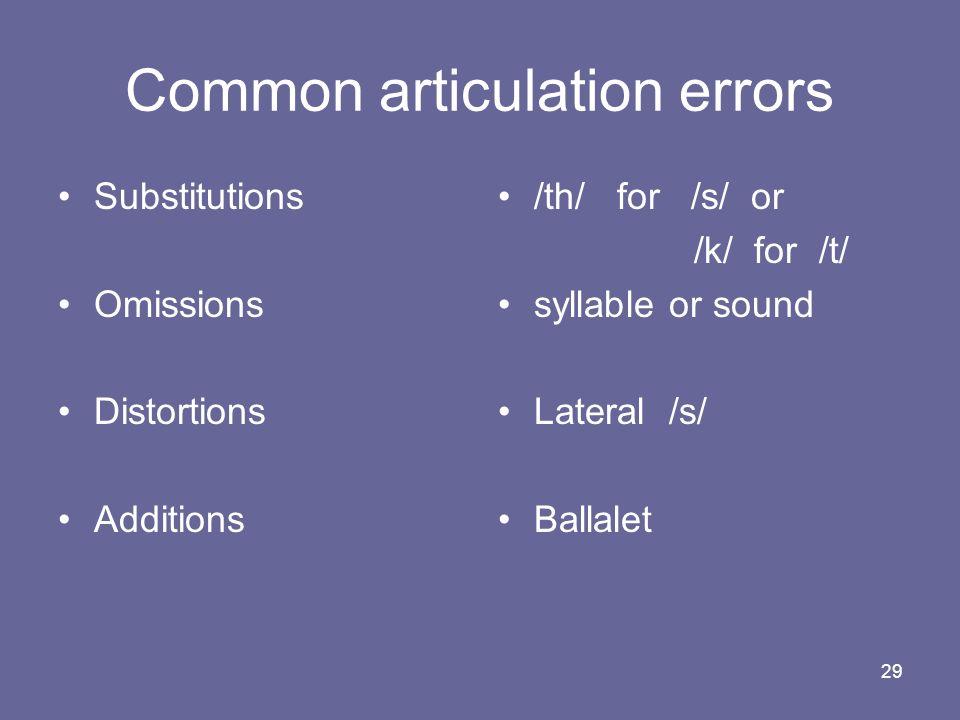 Common articulation errors