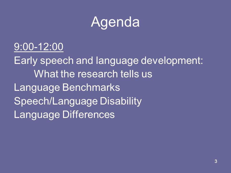Agenda 9:00-12:00 Early speech and language development: