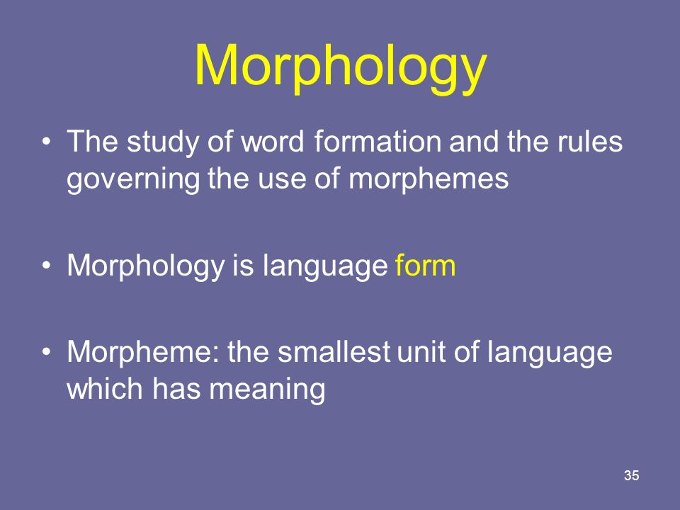 Morphology The study of word formation and the rules governing the use of morphemes. Morphology is language form.