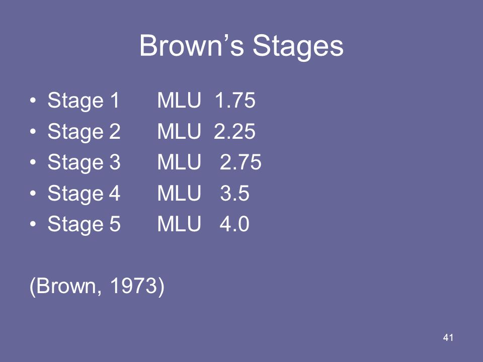 Brown's Stages Stage 1 MLU 1.75 Stage 2 MLU 2.25 Stage 3 MLU 2.75