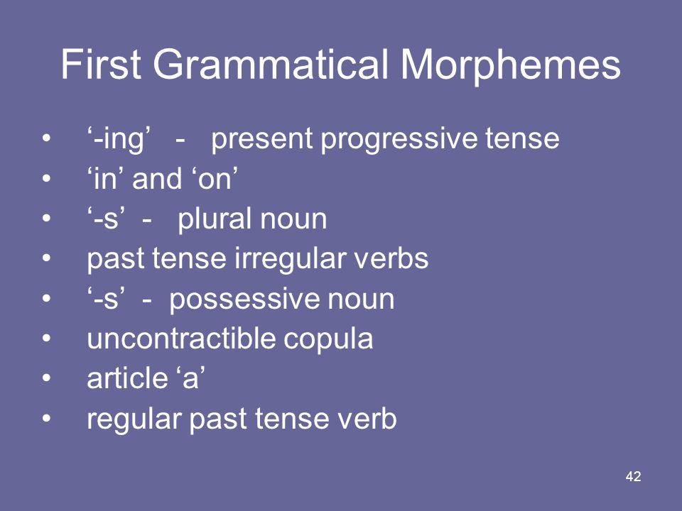 First Grammatical Morphemes