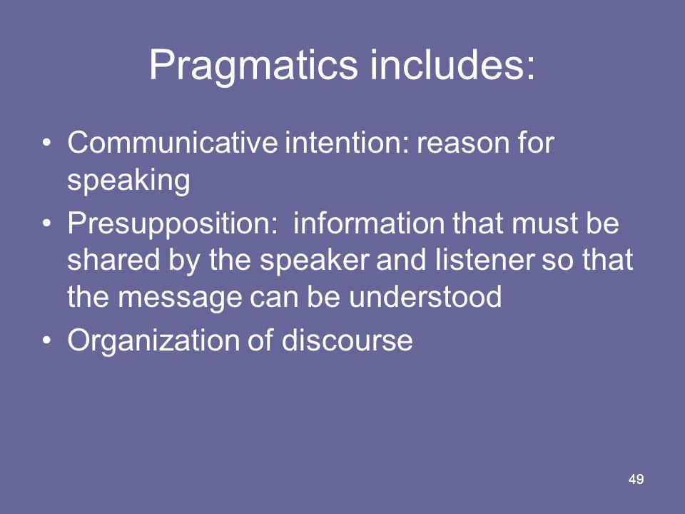 Pragmatics includes: Communicative intention: reason for speaking