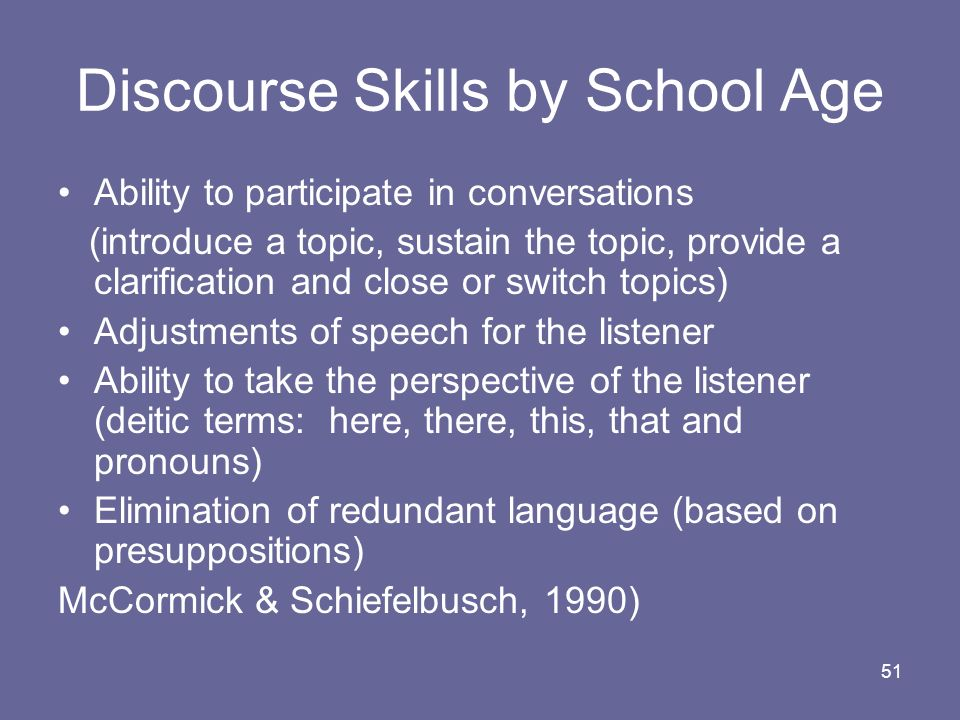Discourse Skills by School Age