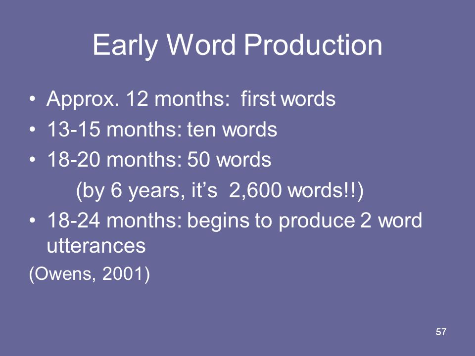Early Word Production Approx. 12 months: first words