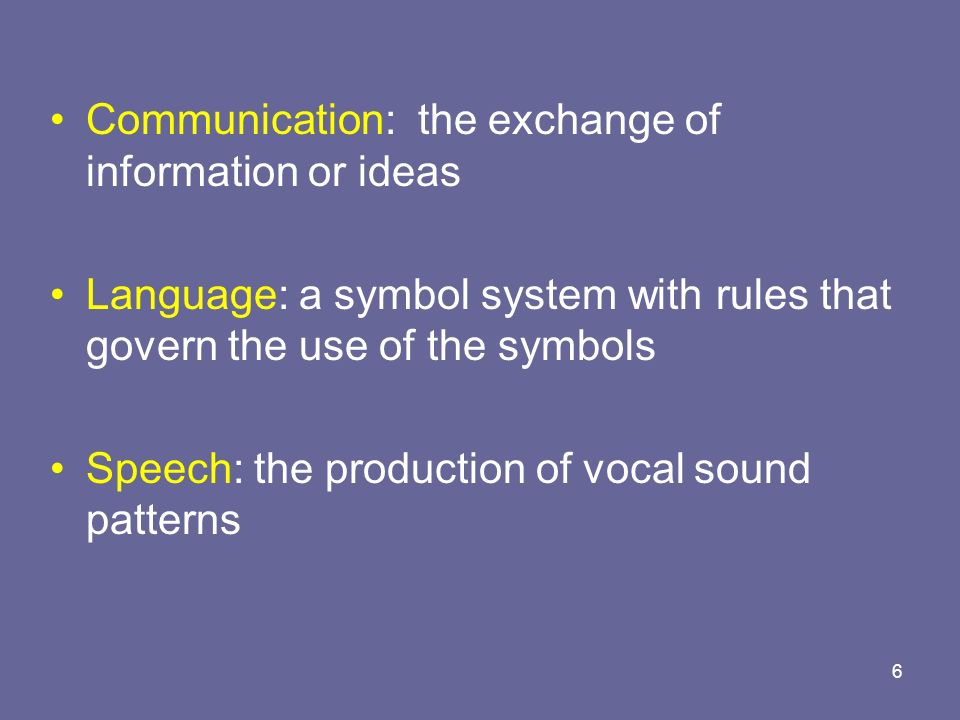 Communication: the exchange of information or ideas