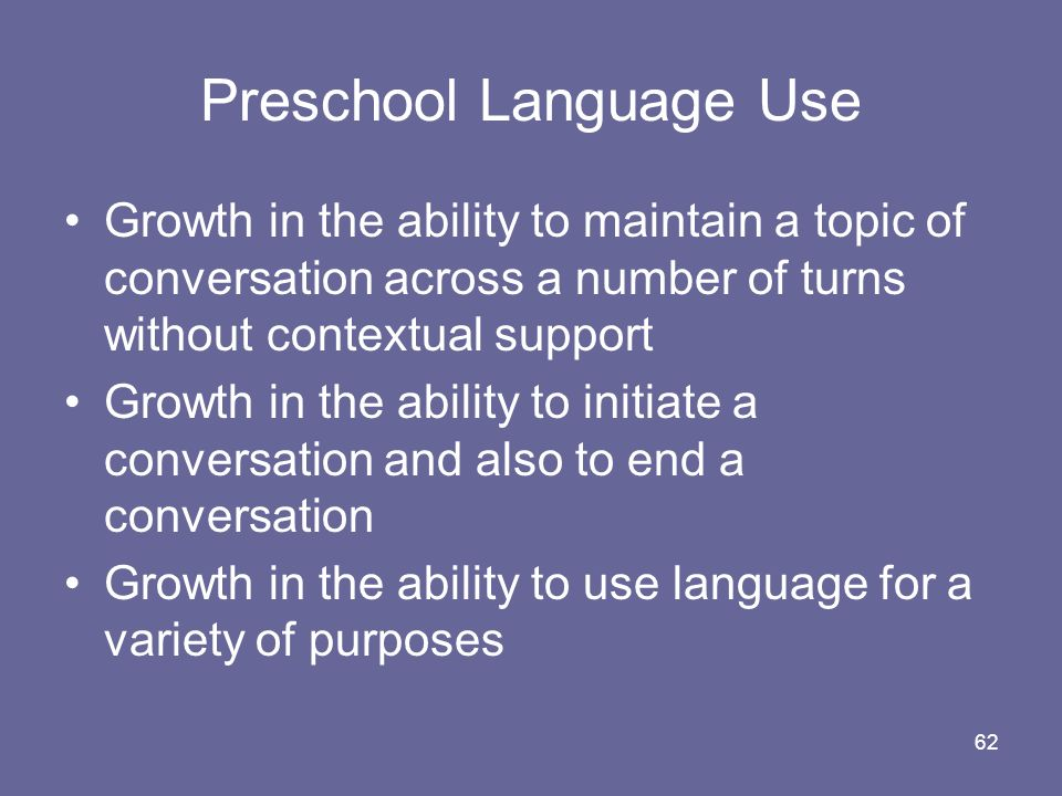 Preschool Language Use