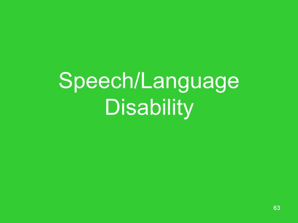 Speech/Language Disability