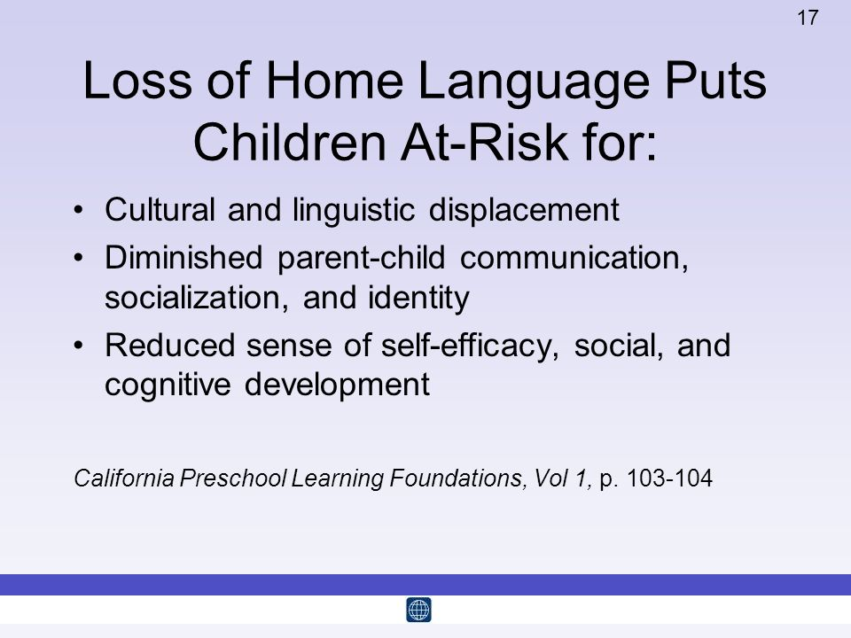 Loss of Home Language Puts Children At-Risk for: