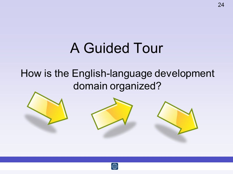 How is the English-language development domain organized
