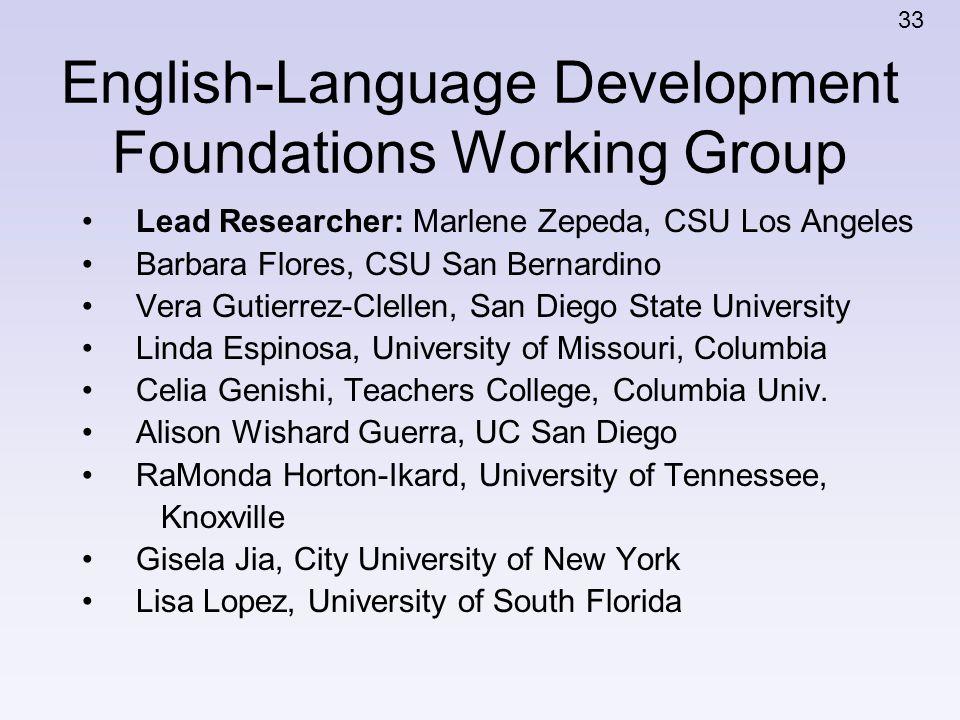 English-Language Development Foundations Working Group