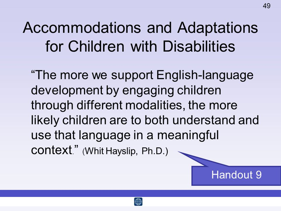 Accommodations and Adaptations for Children with Disabilities