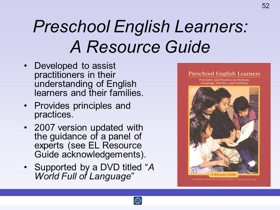 Preschool English Learners: A Resource Guide
