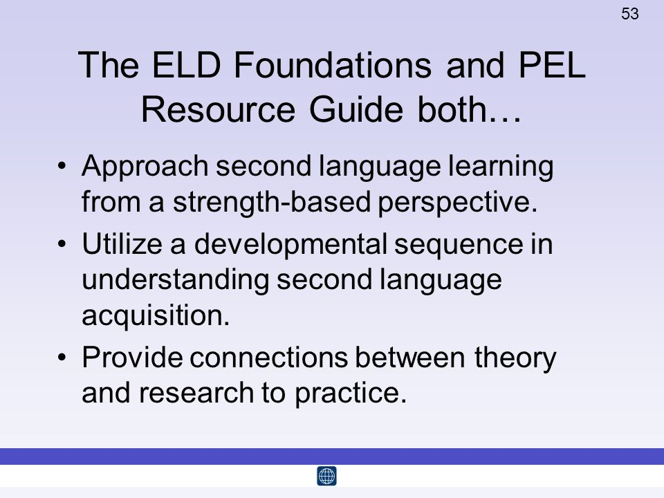 The ELD Foundations and PEL Resource Guide both…