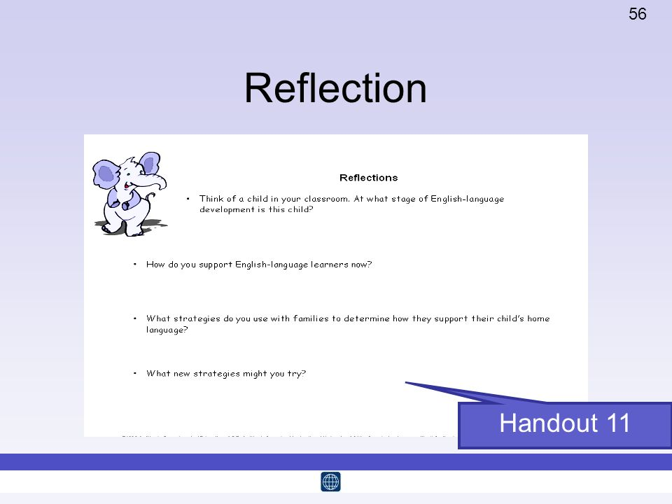 Reflection Time: 5 minutes this slide and the previous Handout 11