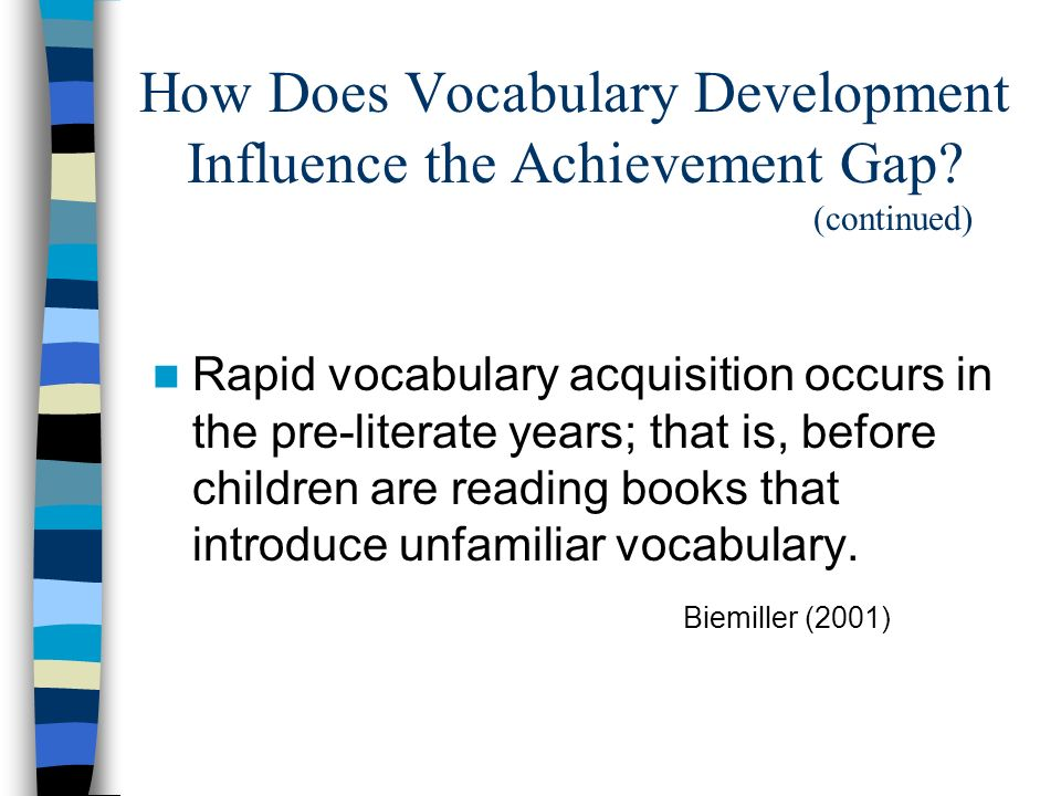 How Does Vocabulary Development Influence the Achievement Gap