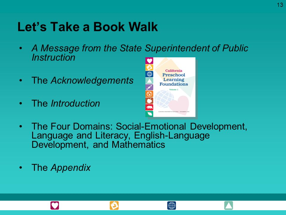 Let's Take a Book Walk A Message from the State Superintendent of Public Instruction. The Acknowledgements.