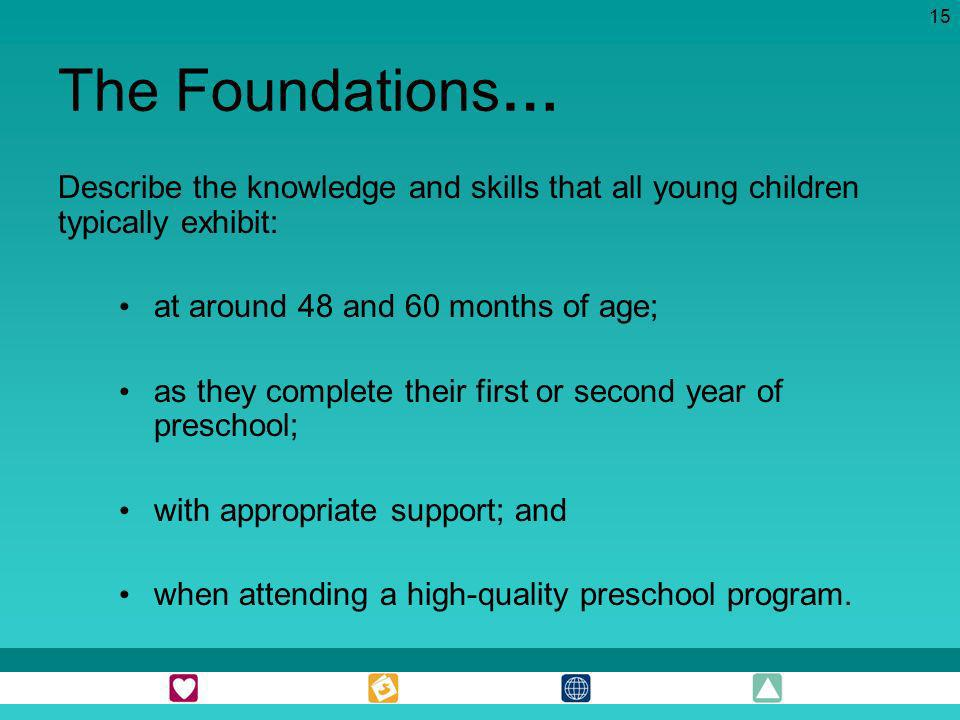 The Foundations… Describe the knowledge and skills that all young children typically exhibit: at around 48 and 60 months of age;