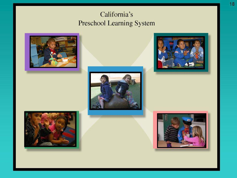 Element One: The Preschool Learning Foundations are at the center of the Preschool Learning System. The focus is on the child and his/her development. Foundations describe what children learn. Statewide preschool foundations provide all teachers and programs with a common knowledge of the expectations and goals for children. The foundations will be useful as teachers plan activities, the environment, and interactions.
