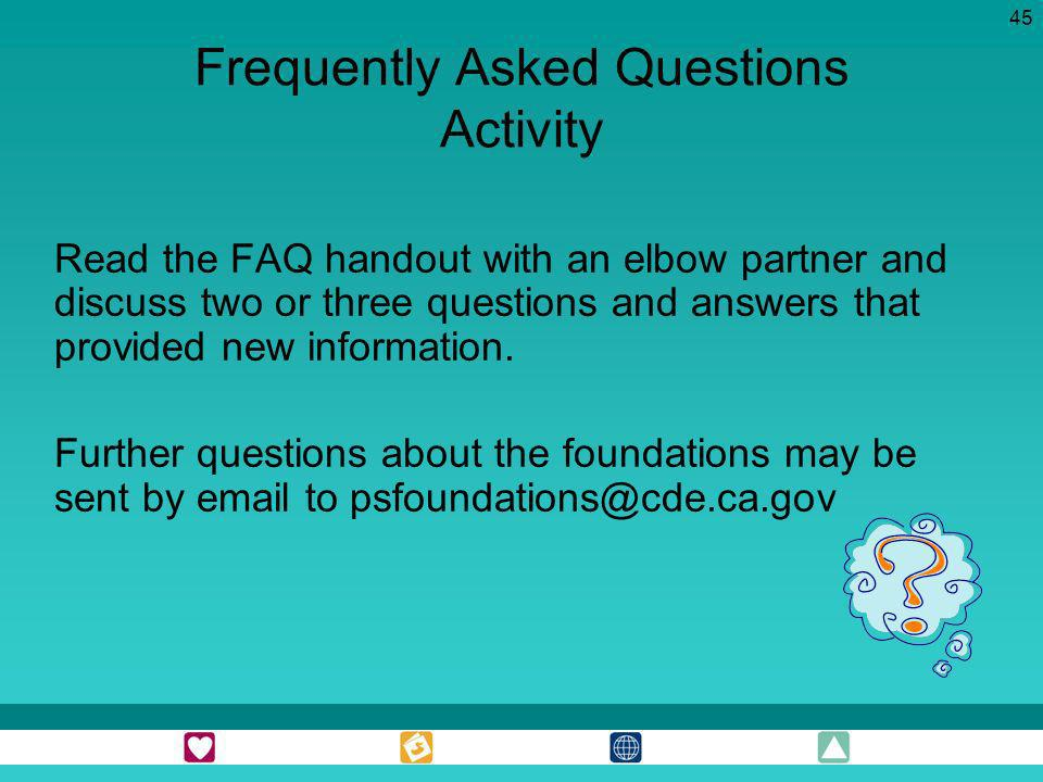 Frequently Asked Questions Activity