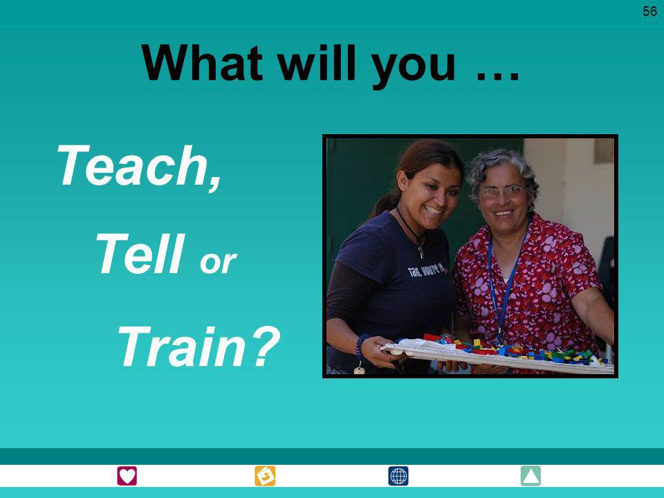 Teach, Tell or Train What will you …