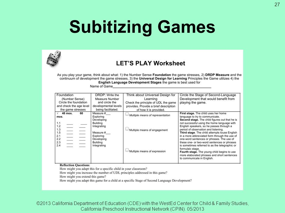 Subitizing Games Subitizing: Let's Play