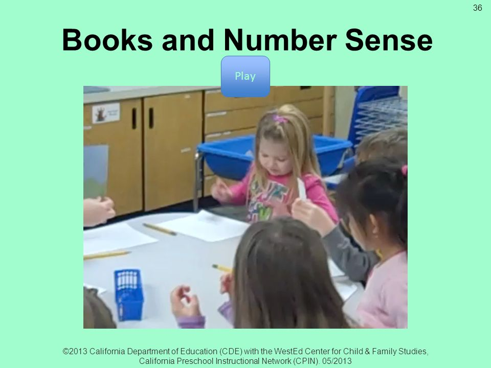 Books and Number Sense Play Books and Number Sense
