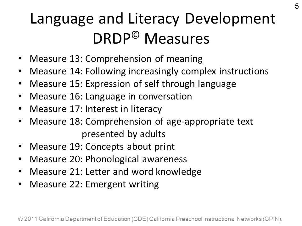 Language and Literacy Development DRDP© Measures