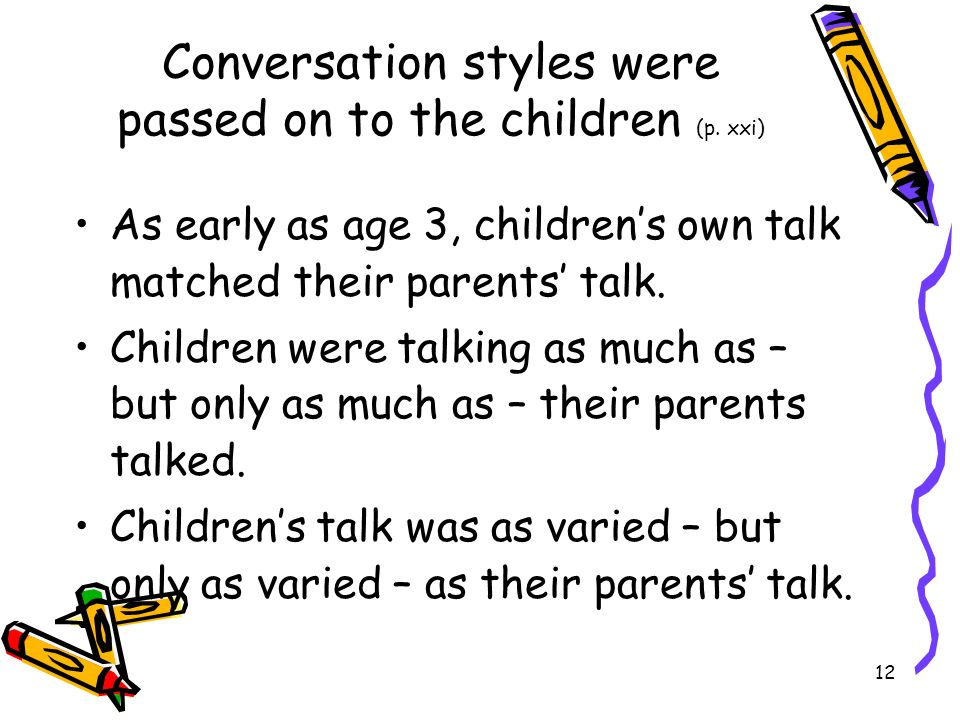 Conversation styles were passed on to the children (p. xxi)
