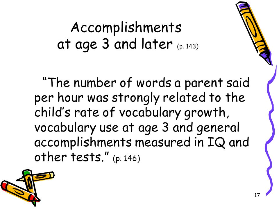 Accomplishments at age 3 and later (p. 143)