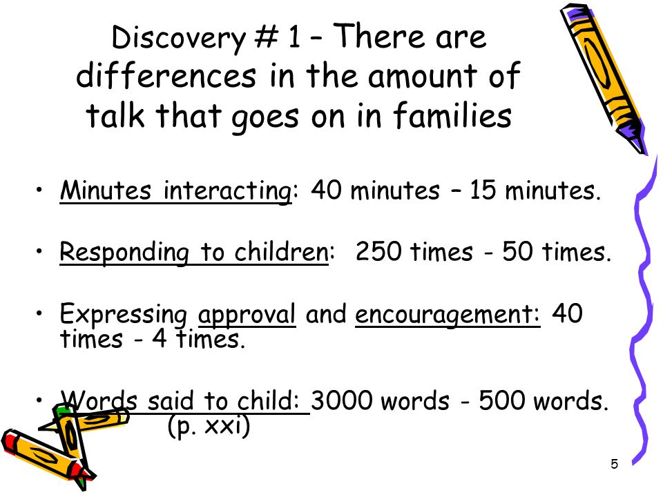 Discovery # 1 – There are differences in the amount of talk that goes on in families