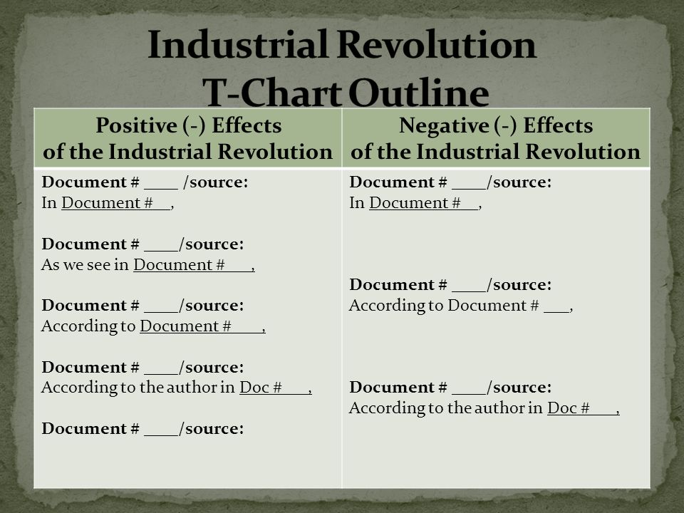 aim how do we write a dbq essay on the industrial revolution  14 industrial revolution t chart outline positive effects of the industrial revolution negative